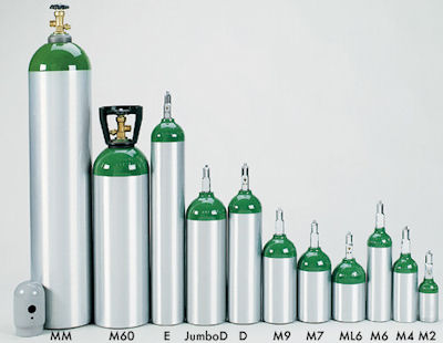 Aluminum Oxygen Cylinders (Tanks). Sizes M6 (B) to H (K) (steel)